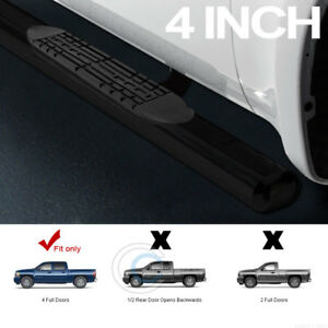 4 Oval Black Side Step Nerf Bars Running Boards 01 18 Chevy Silverado Crew Cab
