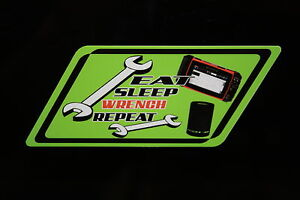 Eat Sleep Wrench Repeat Decal lime Green Snap On Tool Box Cart Krl Classic