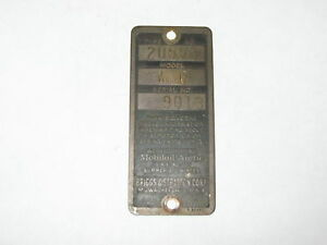 Old Antique Briggs Stratton Gas Engine Brass Serial Tag Model Wmg