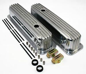 Sbc 350 Vortec Tbi Retro Finned Chevy Tall Aluminum Valve Covers Center Bolt