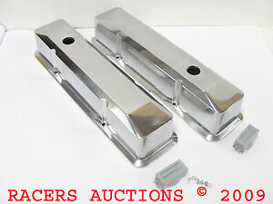 Small Block Chevy Tall Polished Aluminum Recessed Valve Covers 327 350 400 Sbc