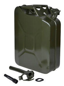 5 Gal 20l Steel Gasoline Can Gas Fuel Caddy Tank Emergency Backup Army Military