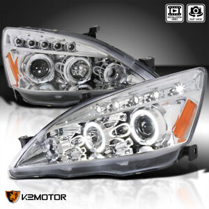 For 2003 2007 Honda Accord Clear Led Halo Projector Headlights Lamps Pair 03 07