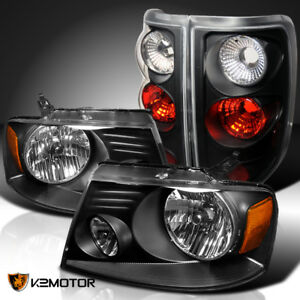Fit 2004 2008 Ford F150 Xl Crystal Black Headlights Tail Lights Replacement