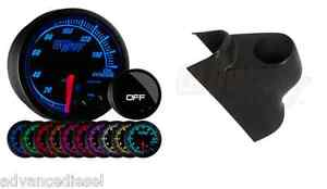Glowshift Elite 10 Color Oil Pressure Gauge Black Pod For 03 09 Dodge Cummins