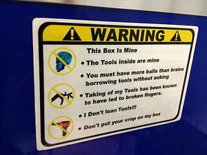 Yellow Warning These Tools Are Mine Decal Matco Tool Box Cart Mechanic Socket