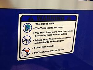 Blue Warning These Tools Are Mine Decal Matco Tool Box Cart Mechanic Socket