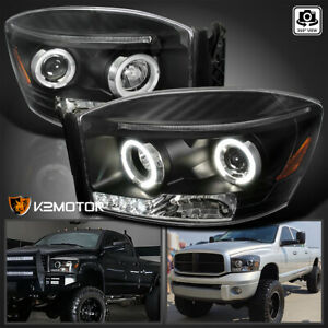 For 2006 2008 Dodge Ram 1500 Black Led Halo Projector Headlights Lamps Pair