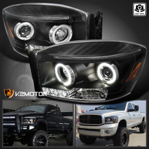 For 2006 2008 Dodge Ram 1500 Black Led Halo Projector Headlights Lamps L r 06 08