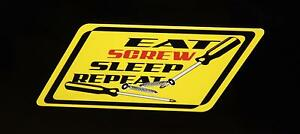 Eat Screw Sleep Repeat Decal Yellow Matco Tool Box Cart Mechanic Socket