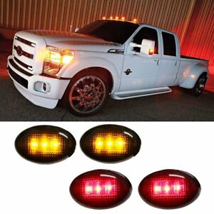 Ford F350 F Series 4pc Led Fender Bed Side Marker Lights Smoked Lens Amber Red