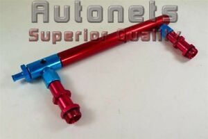 Billet Aluminum Holley 4150 Double Pumper Fuel Line Log Red Blue Anodized Sbc