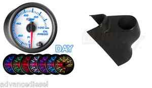 Glowshift White 7 Color Psi Oil Pressure Gauge Black Pod For 03 09 Cummins