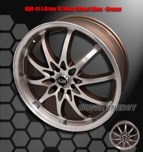 18 X7 5 42mm Offset Adr J Drive 5 Lug Wheel Rim Bronze For Vw Golf Jetta Passat