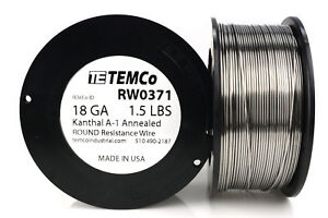 Temco Kanthal A1 Wire 18 Gauge 1 5 Lb 380 Ft Resistance Awg A 1 Ga