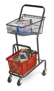 For Sale Mini Retail Store Shopping Cart With Red Basket grey