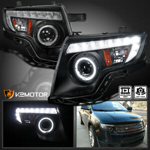 For 2007 2010 Ford Edge Black Led Halo Rim Projector Headlights Head Lamps Pair
