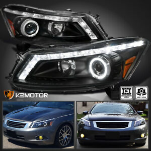 For Black 2008 2012 Honda Accord 4dr Sedan Halo Projector Headlights W Led Drl