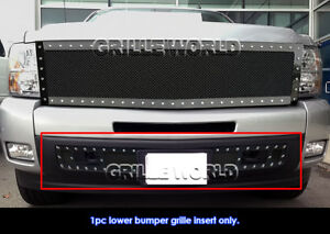 Fits 2007 2013 Chevy Silverado 1500 Bumper Stainless Black Mesh Grille Insert