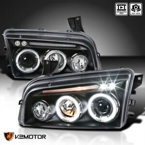 For 2006 2010 Dodge Charger Led Halo Projector Headlights Black Lamps Left Right