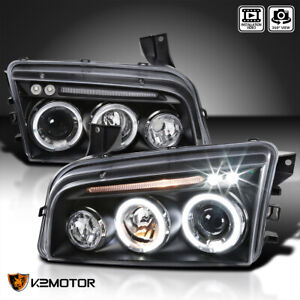 2006 2010 Dodge Charger Halo Led Projector Headlights Black