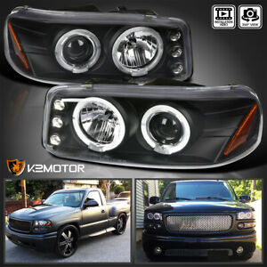 For 2000 2006 Gmc Sierra Denali Yukon Xl Led Halo Projector Black Headlights L R