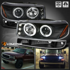 For 2000 2006 Gmc Yukon Xl Led Halo Projector Headlights Bumper Lamps Black L R