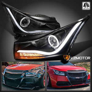 For 2011 2014 Chevy Cruze Halo led Strip Black Projector Headlights Left right