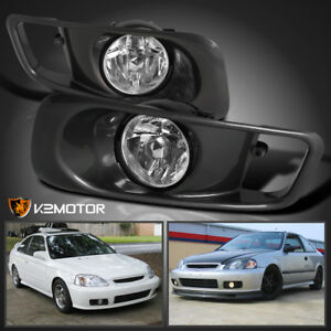 For 1999 2000 Honda Civic Si Crystal Clear Driving Fog Lights Pair W Switch