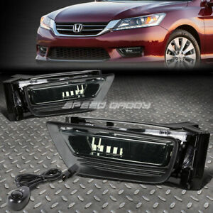 For 13 15 Honda Accord Sedan Smoked Lens Bumper Driving Fog Light Lamps W switch