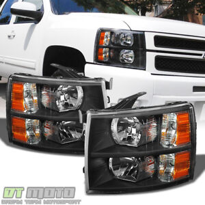 Blk 2007 2014 Chevy Silverado 1500 2500hd Replacement Headlights Lamp Left Right