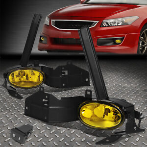 For 08 10 Honda Accord Coupe Amber Lens Bumper Driving Fog Light Lamp W switch