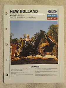 1989 Ford New Holland L553 l555 Deluxe Skid Steer Loader Specifications Brochure