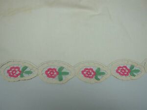 Antique Linen Bed Sheet W Hand Crochet Pink Green Roses Top Edge W Pillowcase