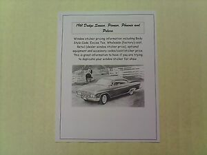 1961 Dodge Full size Factory Cost dealer Sticker Prices For Base Options
