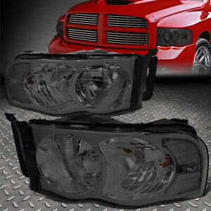 For 2002 2005 Dodge Ram Pickup Pair Smoked Housing Clear Corner Headlight lamp