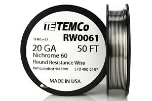 Temco Nichrome 60 Series Wire 20 Gauge 50 Ft Resistance Awg Ga