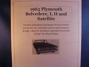 1965 Plymouth Belvedere Factory Cost Dealer Sticker Prices For Car Options