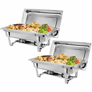 2 Packs 8 Quart Stainless Steel Chafing Dish Buffet Trays Chafer With Warmer