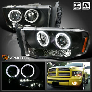 2002 2005 Dodge Ram 1500 2500 3500 Halo Led Projector Headlight Black Left Right