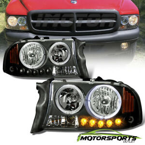 dual Led Halo 1997 2004 Dodge Dakota 1998 2003 Durango Led Black Headlights