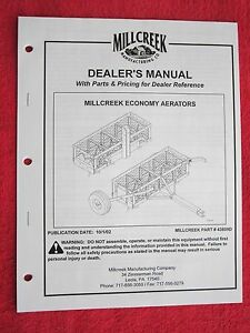2002 Millcreek 36e 36et 54e 54et Aerators Operators maintenance parts Manual