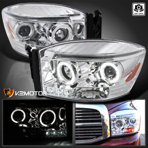 For 2006 2008 Dodge Ram 1500 2500 3500 Led Strip Halo Projector Headlights Pair