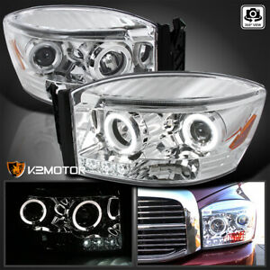 For 2006 2008 Dodge Ram 1500 2500 3500 Led Drl Halo Projector Headlights Pair