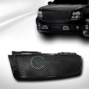 Fit 07 14 Chevy Tahoe Suburban Avalanche Glossy Blk Mesh Front Bumper Grille Abs
