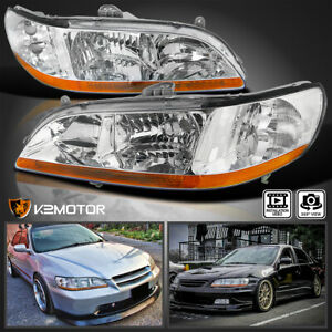 For 98 02 Honda Accord 2 4dr Jdm Chrome Front Diamond Headlights Left right