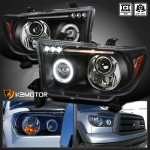 For 2007 2013 Toyota Tundra Sequoia Halo Black Projector Headlights Left Right