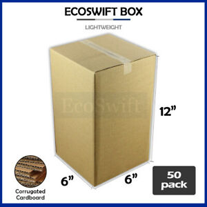 50 6x6x12 Cardboard Packing Mailing Moving Shipping Boxes Corrugated Box Cartons