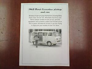 1963 Ford Econoline Van Factory Cost Dealer Sticker Pricing For Base Options