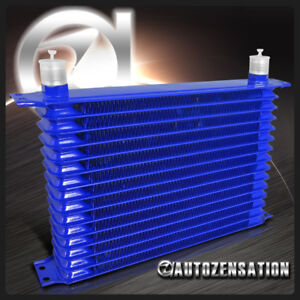 Blue Aluminum 15 Row 10an Engine Transmission Oil Cooler Kit